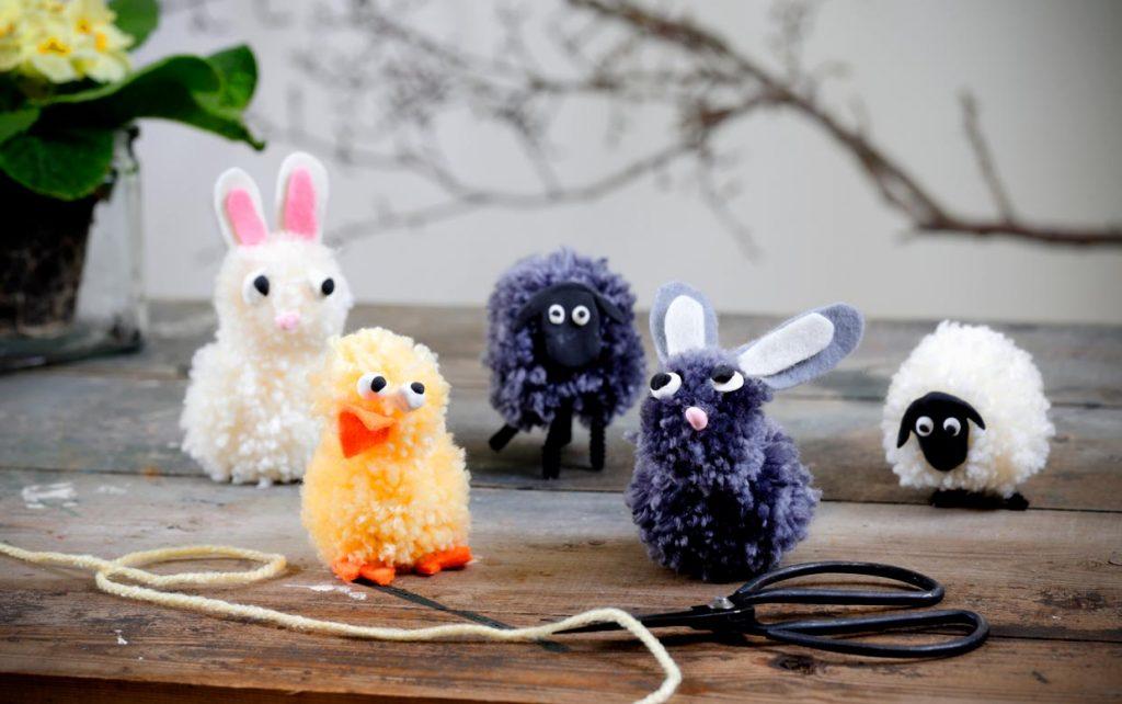 Maak pompom dieren voor Pasen