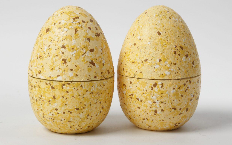 Pasen: Tweedelige eieren gedecoreerd met terrazzo vlokken