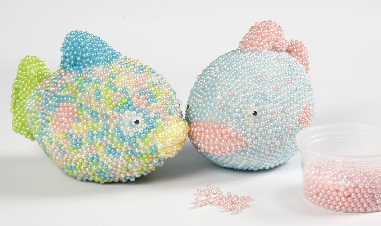 creatief met pearl clay vis van styropor