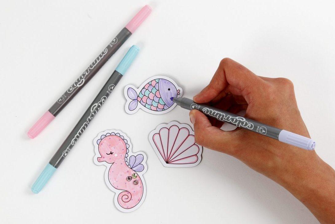 creatieve ideeën voor kinderen, onderwater wereld koelkast magneten om zelf te kleuren