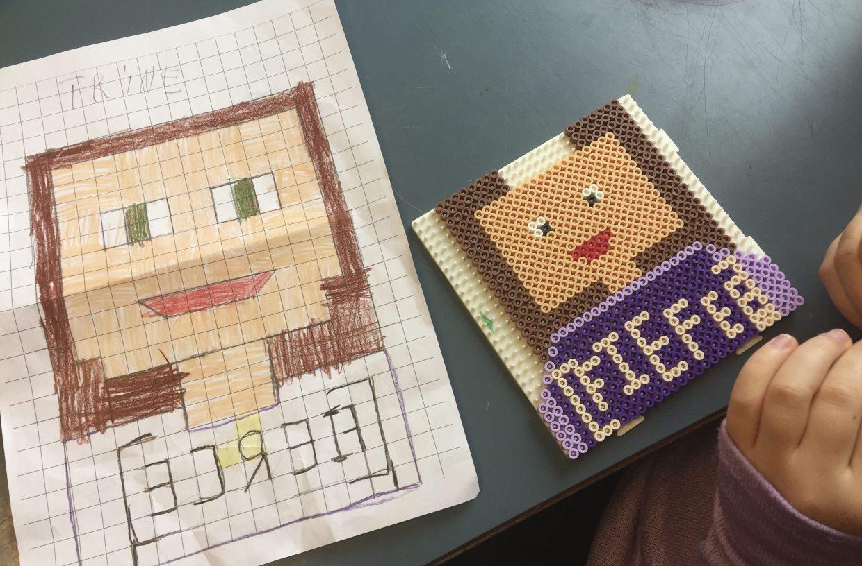 creatieve ideeën voor kinderen, pixel art met strijkkralen