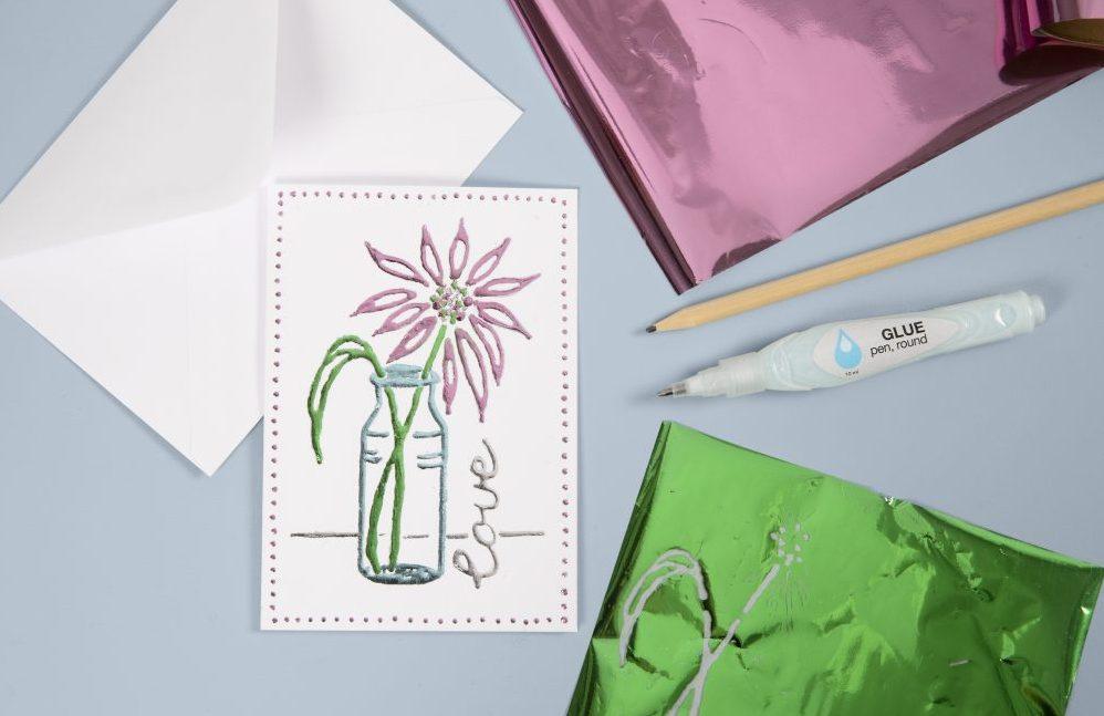 wees creatief met deco-folie op wenskaarten