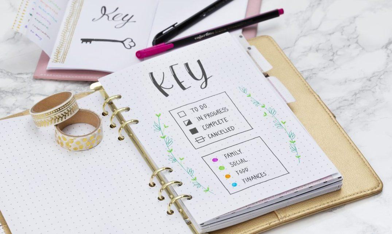 maak zelf een bullet journal met een sleutel - vind inspiratie en ideeën hier